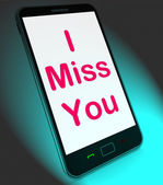 I Miss You On Mobile Means Sad Longing Relationship — Stock Photo