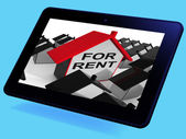 For Rent House Tablet Means Leasing To Tenants — Stock Photo