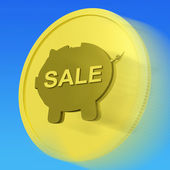 Sale Gold Coin Means Reduced Price Or Discounted Goods — Stock Photo