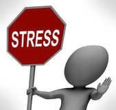 Stress Red Stop Sign Shows Stopping Tension And Pressure — Stock Photo
