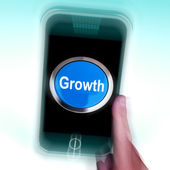 Growth On Mobile Phone Means Get Better Bigger And Developed — Stock Photo