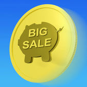 Big Sale Gold Coin Means Huge Money Savings — Stock Photo