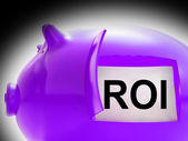 ROI Piggy Bank Coins Shows Return On Investment — Stock Photo
