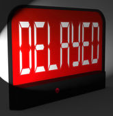 Delayed Digital Clock Shows Postponed Or Running Late — Stockfoto