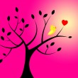 Heart Birds Means Valentines Day And Branch — Stock Photo #48827115