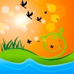 Постер, плакат: Landscape Sun Shows Birds In Flight And Sunlight