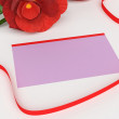 Gift Card Indicates Surprise Tag And Rose — Stock Photo