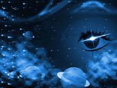 Space Background Represents Human Eye And Backdrop — Stock Photo