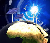 Solar Power Represents Earth Friendly And Electric — Stock Photo