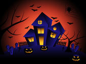 Haunted House Indicates Trick Or Treat And Autumn — Foto de Stock