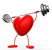 Fitness Weights Means Valentine Day And Athletic — Stock Photo