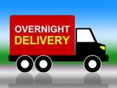 Delivery Overnight Represents Next Day And Transportation — Stock Photo
