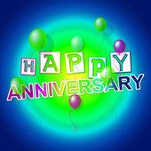 Happy Anniversary Indicates Congratulating Cheerful And Celebration — Stock Photo
