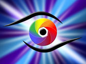 Eye Aperture Represents Color Guide And Chromatic — Stock Photo