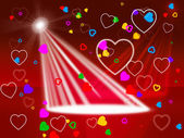 Heart Spotlight Shows Valentines Day And Affection — Stock Photo