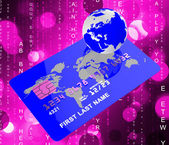 Credit Card Means World Globalise And Globally — Stock Photo