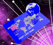 Credit Card Indicates Global World And Payment — Stock Photo