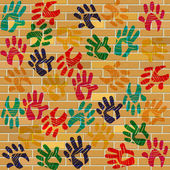 Brick Wall Indicates Multicolored Painted And Design — Stock Photo