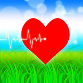 Heart Pulse Represents Valentine Day And Cardiology — Stock Photo