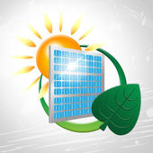 Solar Panel Shows Go Green And Environmentally — 图库照片