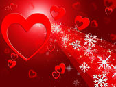 Hearts Snowflake Means Valentines Day And Congratulation — Stock Photo