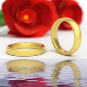 Wedding Rings Represents Reflective Reflect And Wedlock — Stock Photo