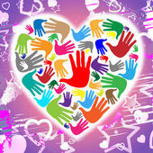 Handprints Hands Represents Heart Shapes And Affection — Stock Photo