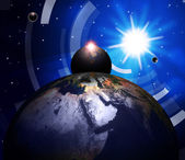 Planets World Shows Solar System And Globalisation — Stock Photo