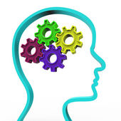 Think Brain Represents Reflect Consideration And Head — Stock Photo