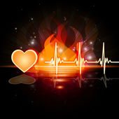 Heartbeat Fire Means Valentine Day And Cardiac — Foto Stock