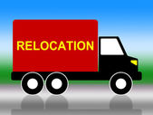 Relocation Truck Means Change Of Residence And Freight — Stock Photo