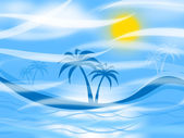 Tropical Island Represents Palm Tree And Background — Stock Photo