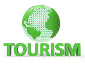 Globe Tourism Means Globalise Travel And Worldly — Stock Photo