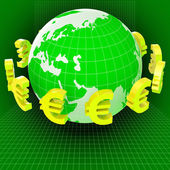 Euros Forex Means Worldwide Trading And Earth — Stock Photo