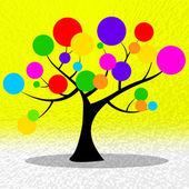Circles Tree Shows Ring Environmental And Yellow — Foto de Stock