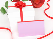 Gift Card Shows Presents Rose And Petal — Stock Photo