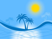 Palm Tree Represents Tropical Island And Atoll — Stock Photo