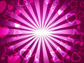 Rays Pink Indicates Valentines Day And Hearts — Stock Photo