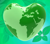 Heart World Shows Valentine Day And Earth — Stock Photo