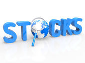 Stock Trades Shows Magnifying Buy And Trading — Stock Photo