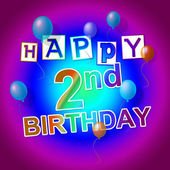 Happy Birthday Represents Celebrate 2Nd And 2 — Stock Photo