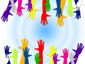 Reaching Out Represents Hands Together And Buddies — Stock Photo