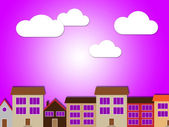Sun Houses Means Habitation Property And Metropolitan — Stock Photo