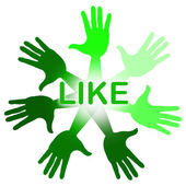 Like Hands Indicates Social Media And Arm — Stock Photo