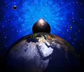 World Planets Shows Solar System And Globalisation — Stock Photo