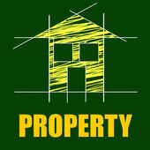 Property Plans Means Real Estate And Residential — Foto Stock