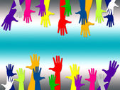 Reaching Out Represents Hands Together And Arm — Stock Photo