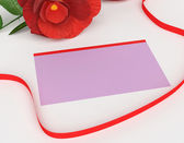 Gift Card Indicates Surprise Tag And Rose — Foto de Stock