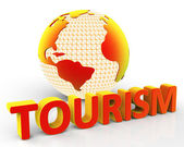 Tourism Global Represents Globalization Voyages And Tourist — Foto de Stock