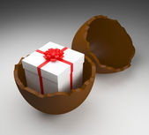 Easter Egg Represents Gift Box And Choc — Stock Photo